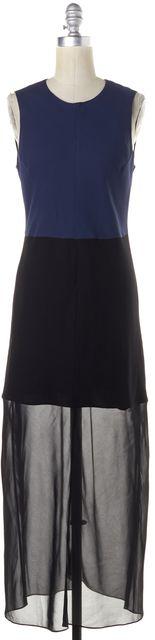 THEORY Blue Black Colorblock Wool Silk Semi Sheer Dalax Maxi Dress