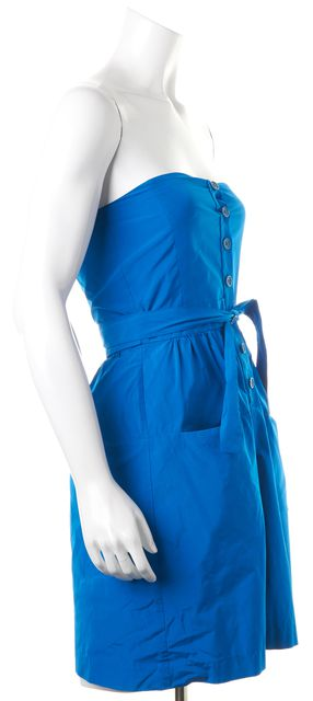 THEORY Blue Strapless Button Front Renadia Sheath Dress