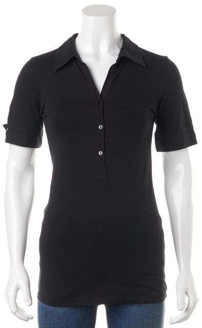 THEORY Black Stretch Cotton Jersey Short Sleeve Polo Shirt Top