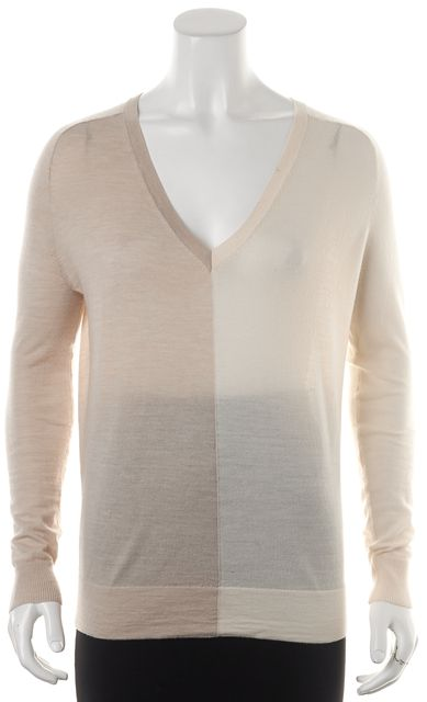 THEORY Ivory Beige Colorblock Wool Adrianna CB Preen V-Neck Thin Sweater