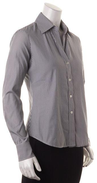 THEORY Black White Striped Stretch Cotton Button Up Larissa Blouse