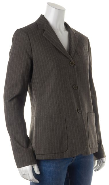 THEORY Gray Pinstriped Pocket Front Three Button Up Blazer