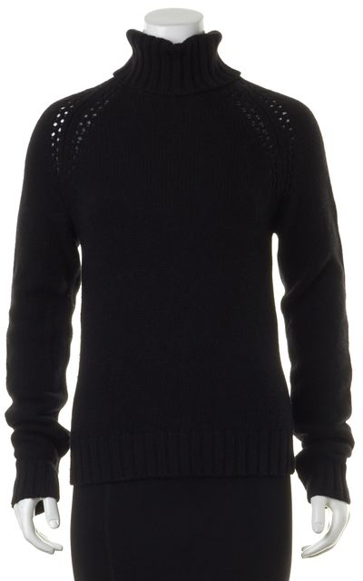 THEORY Black Chunky Knit Sheer Perforated Trim Turtleneck Sweater