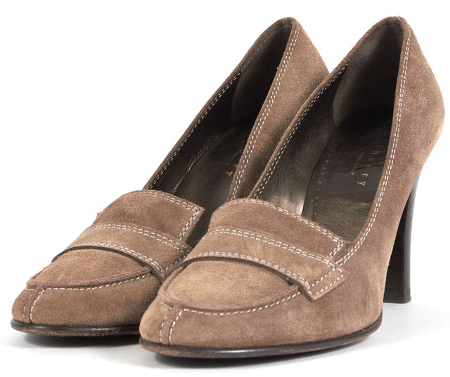 THEORY Taupe Brown Suede Loafer Heels