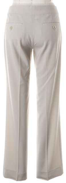 THEORY Light Cement Gray Wool Saree Pleated Trouser Dress Pants