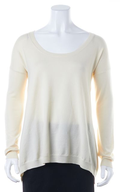 THEORY Ivory Cream Wool Terryl Steady Scoop Neck Lightweight Sweater