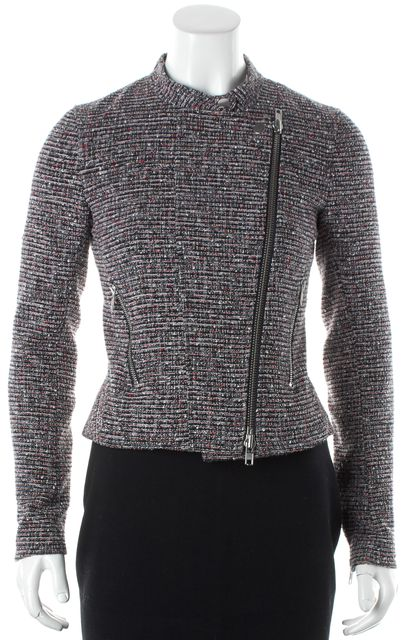 THEORY Red Multi-color Tweed Kinde Size Zip Up Jacket