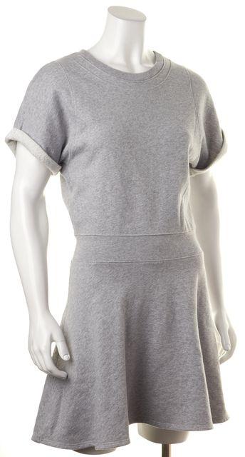 THEORY Gray Cotton Short Sleeve Spinda Sweatshirt Blouson Dress