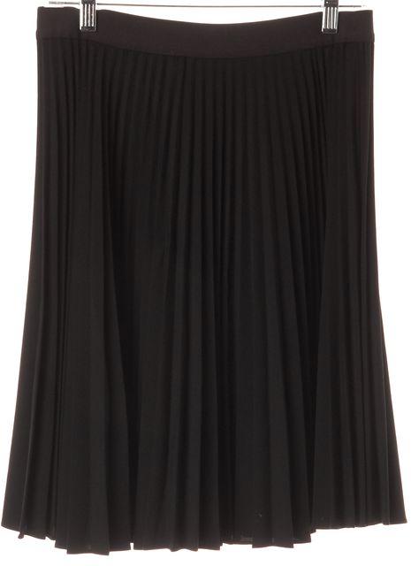 THEORY Black Zeya Knee-Length Pleated A-Line Skirt