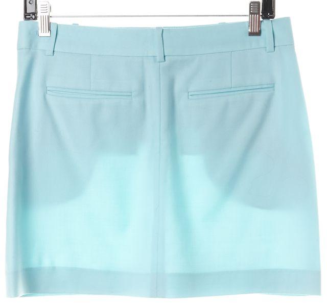 THEORY Sea Grass Blue Wool Evan Mini Skirt