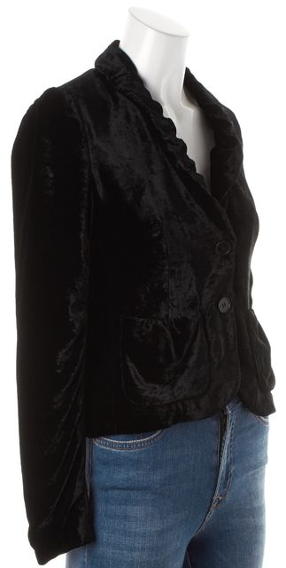 THEORY Black Velvet Double Button Pocket Front Basic Jacket