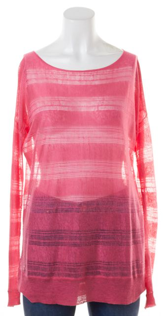 THEORY Hot Pink Striped Open Knit Linen Taoma Sag Harbor Long Sleeve Top