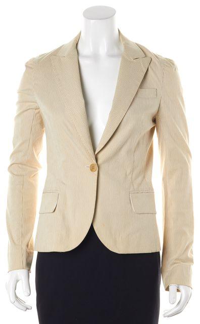 THEORY Beige Striped Stretch Cotton Single Button Blazer