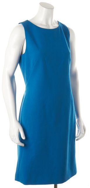THEORY Sleeveless Knee-Length Blue Wool Sheath Dress