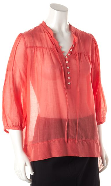 THEORY 3/4 Sleeve Pleated Button Front Pink Blouse Top