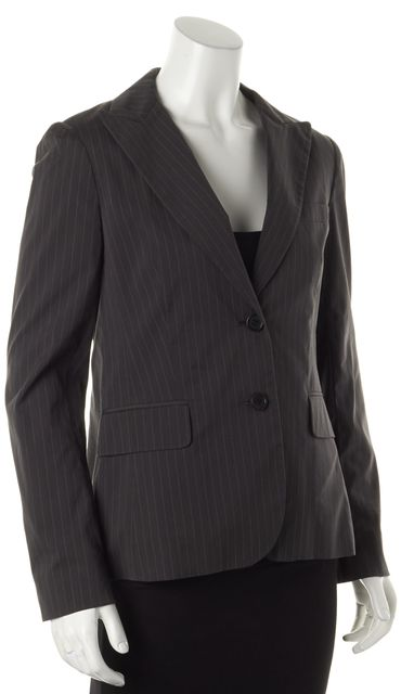 THEORY Gray Button Front Striped Blazer