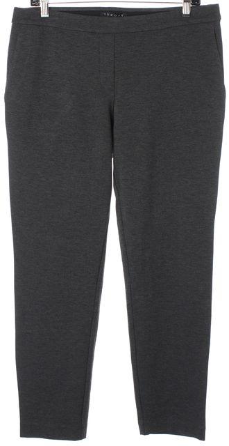 THEORY Gray Thaniel Fixture Ponte Elastic Waistband Cropped Leggings
