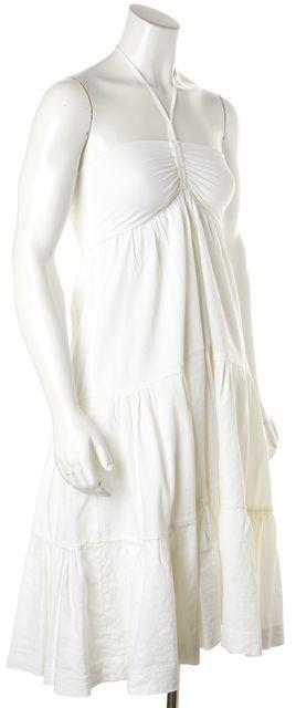 THEORY White Empire Waist Strapless Dress