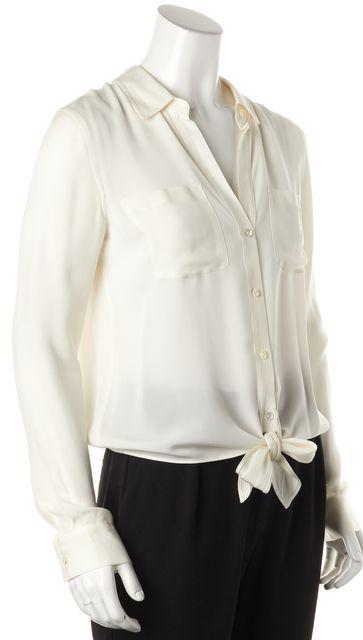 THEORY White Silk Orencia Button Down Tie Waist Blouse Top