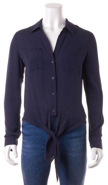 THEORY Navy Blue Silk Button Down Shirt
