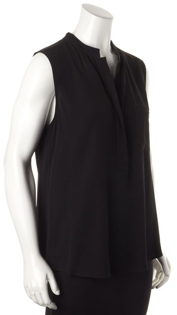 THEORY Black Sleeveless Relaxed Fit V-Neck Blouse Top
