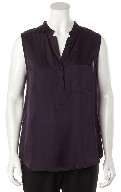 THEORY Plum Purple Sleeveless Semi Sheer One Pocket Blouse Top