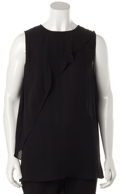 THEORY Black Silk Charelle Relaxed Fit Sleeveless Blouse Top