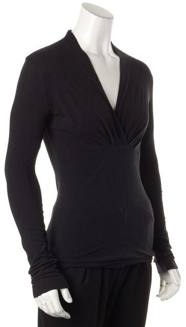 THEORY Black V-Neck Jersey Knit Blouse Top