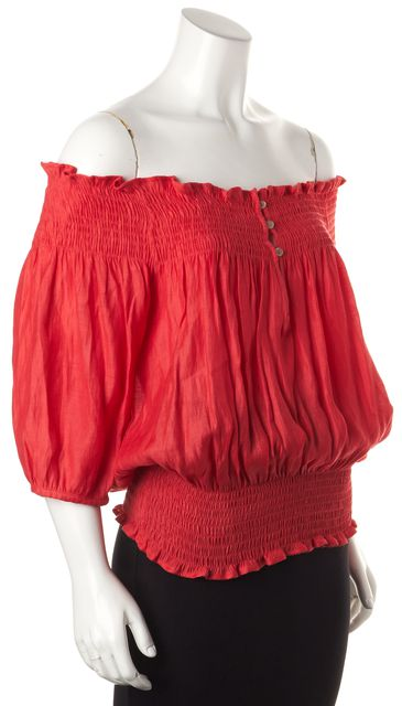 THEORY Red Semi Sheer Off The Shoulder Blouse Top