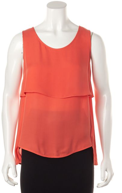 THEORY Coral Pink Silk Layered Relaxed Fit Sleeveless Blouse Top