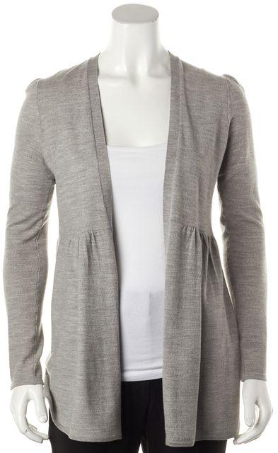 THEORY Gray Wool Open Drape Knit Cardigan Sweater