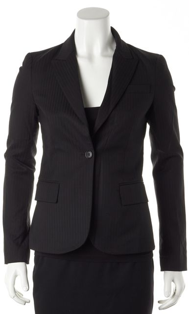 THEORY Black Wool Striped Blazer