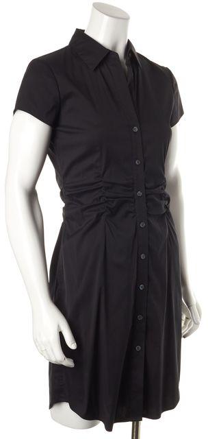 THEORY Black Jaleen Precise Short Sleeve Button Down Sheath Dress