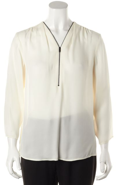 THEORY White Silk Sala Relaxed Fit Zip V-Neck Semi Sheer Blouse