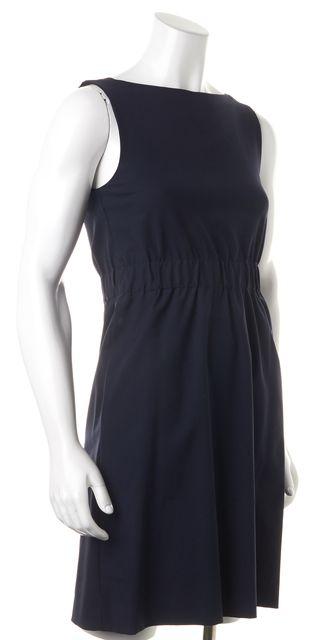 THEORY Navy Blue Wool Sleeveless Knee-Length Sheath Dress