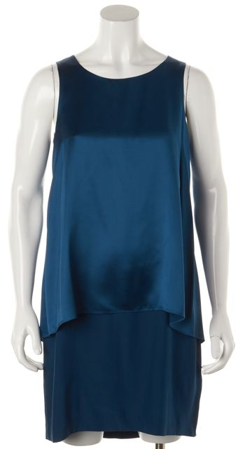 THEORY Blue Silk Tiered Dress