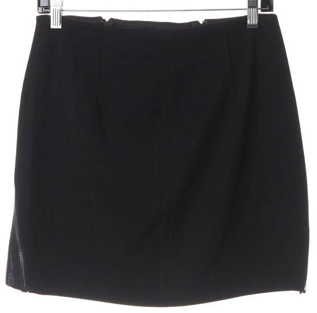 THEORY Black Wool Laureate Leather Front Zipper Trim Seneca C Mini Skirt