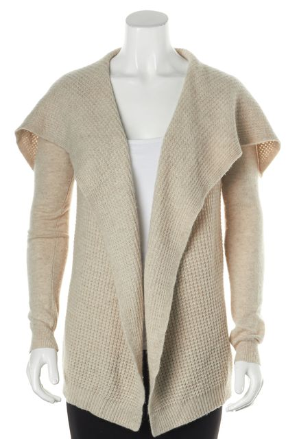 THEORY Beige Long Sleeve Draped Winxie D Cashmere Cardigan