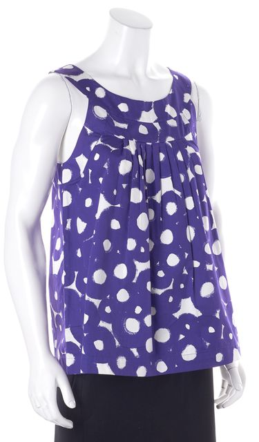 THEORY Purple White Abstract Blouse Top
