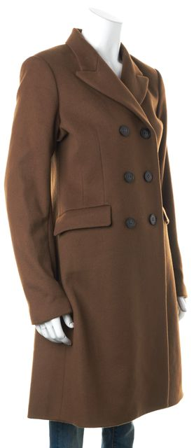 THEORY Brown Explorer Wool Ellery Long Double Breasted Peacoat
