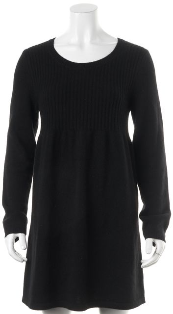 THEORY Black Isamar Cashmere Long Sleeve Fit & Flare Dress