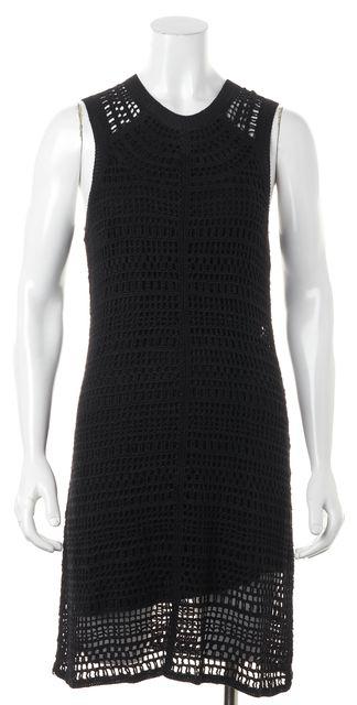 THEORY Black Crochet Overlay Linen Sleeveless Sheath Dress