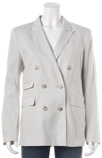 THEORY Gray Linen Double Breasted Pocket Front Blazer