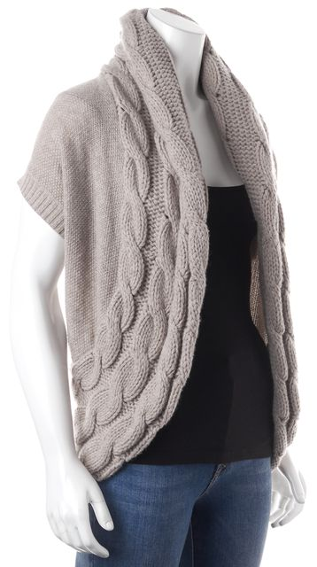 THEORY Beige Wool Cashmere Chunky Knit Open Baako Haven Cardigan Sweater