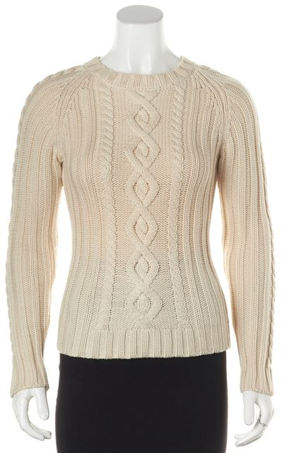 THEORY Ivory Wool Long Sleeve Cable Knit Crewneck Sweater