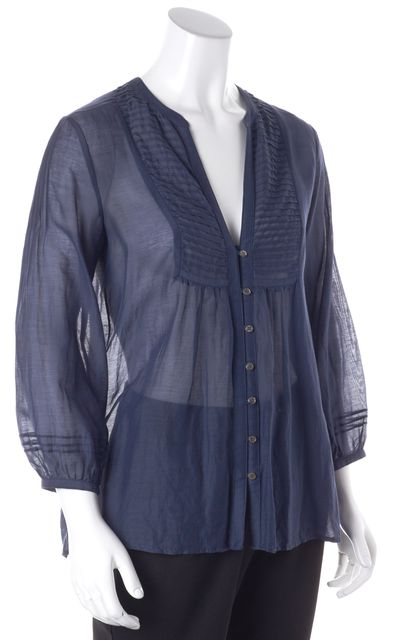 THEORY Navy Blue Blouse Top