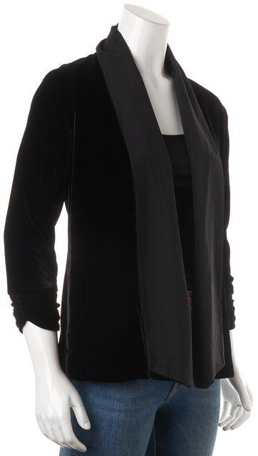 THEORY Black Velvet Ashbey W Open Drape Cropped Sleeve Cardigan