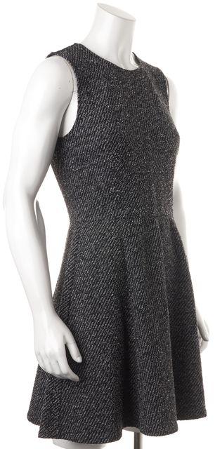 THEORY Black White Tillora K Twill Sleeveless Fit & Flare Dress