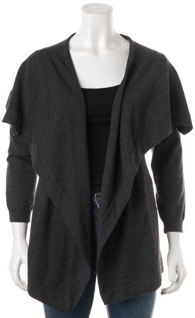 THEORY Charcoal Gray Wool Maritza B Steady Open Drape Cardigan Sweater
