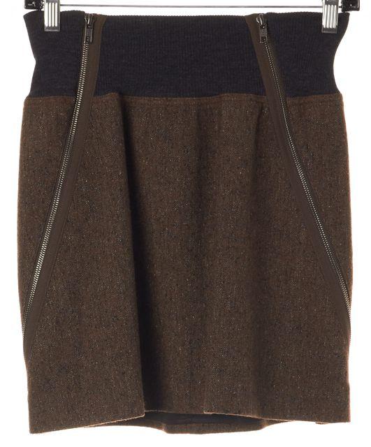 THEORY Brown Gray Marled Wool Gretchyn Stretch Knit Skirt